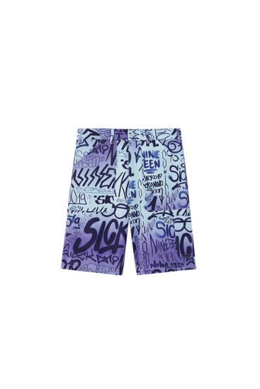 Sicko print Bermuda shorts