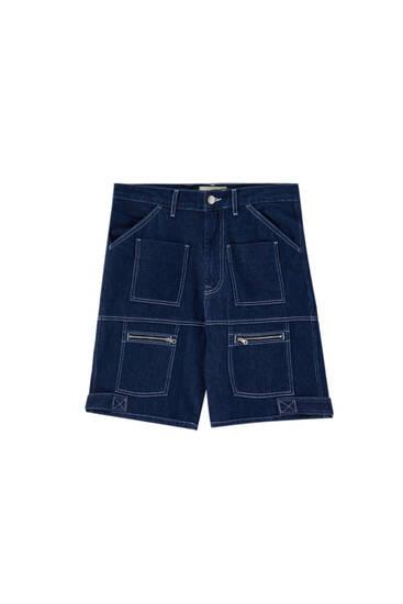 Blue denim utility Bermuda shorts