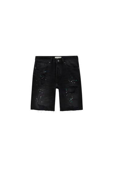 Regular fit denim Bermuda shorts with ripped detailing - contains recycled cotton
