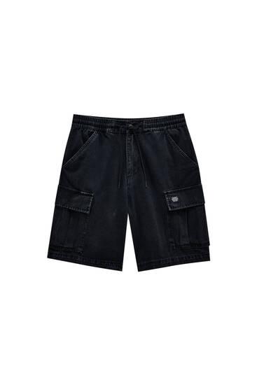 Loose-fit black denim Bermuda shorts