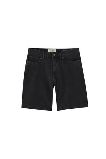 Loose fit denim Bermuda shorts