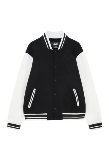 Куртка в університетському стилі з контрастними рукавами