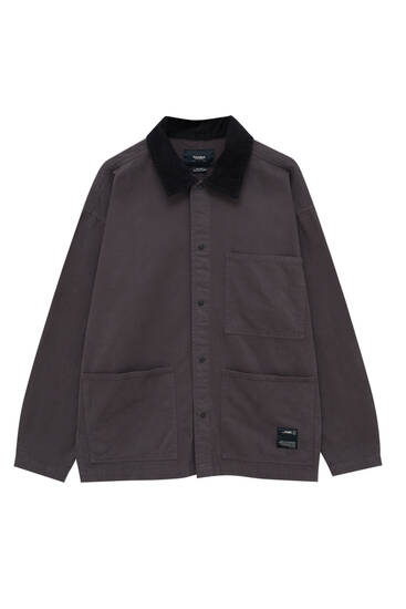 Corduroy collar utility overshirt