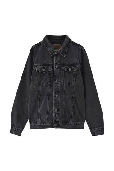 Schwarze Jeansjacke im Washed-Look