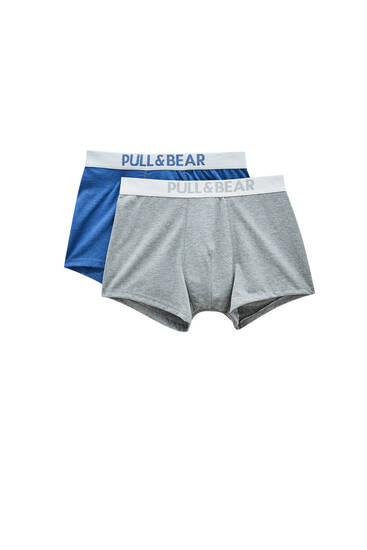 Pack of blue and grey boxers