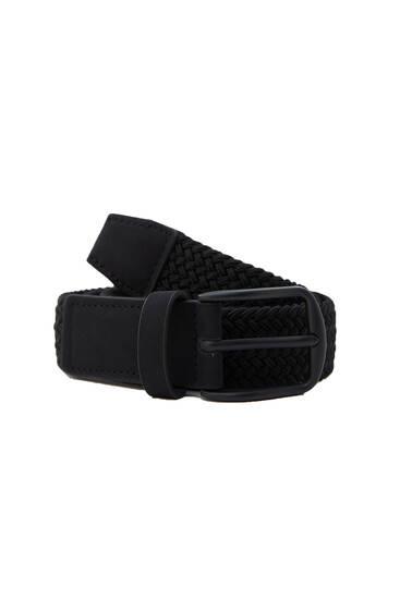 Cinturón negro tejido elástico