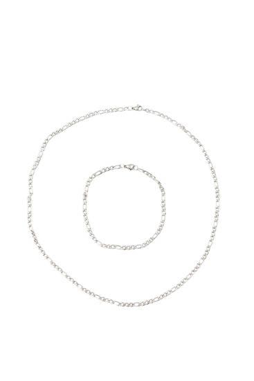 Silver-coloured necklace and bracelet set