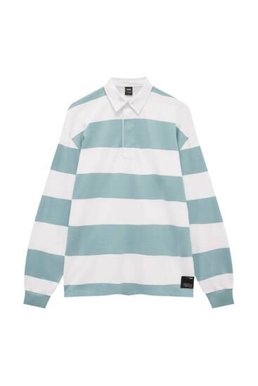 Striped oversize polo shirt