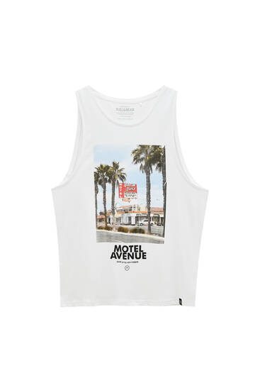 Tank top with contrast slogan