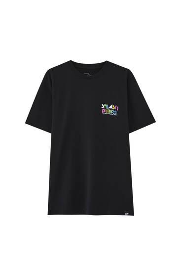 Zwart T-shirt met gekleurde print