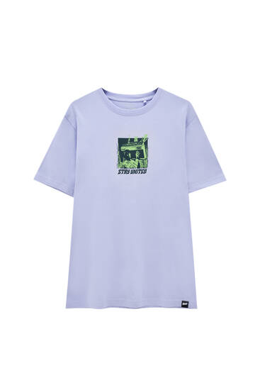 Lime green 'Stay United' T-shirt