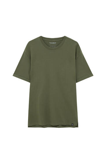 Basic coloured long fit T-shirt