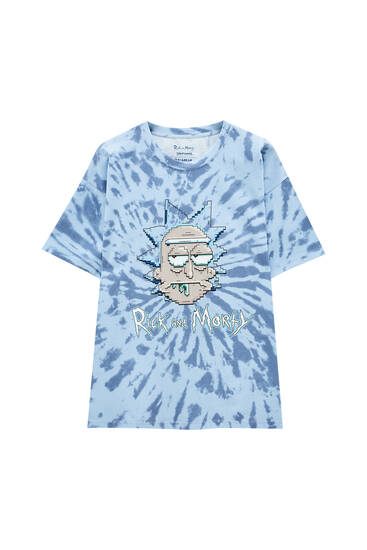 Rick and Morty T-shirt with blue tie-dye print