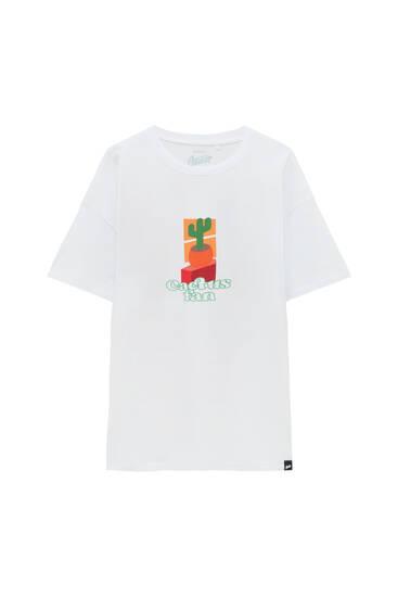 White Cactus Fan T-shirt