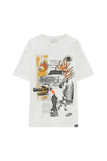 White T-shirt with car print