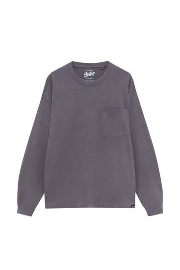 Μακρυμάνικη μπλούζα basic με τσέπη