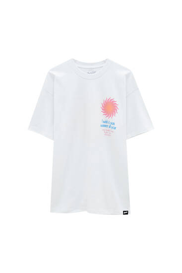 White T-shirt with sun
