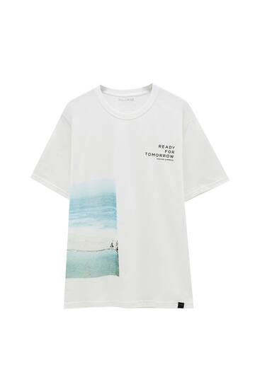 Wit T-shirt met strandprint