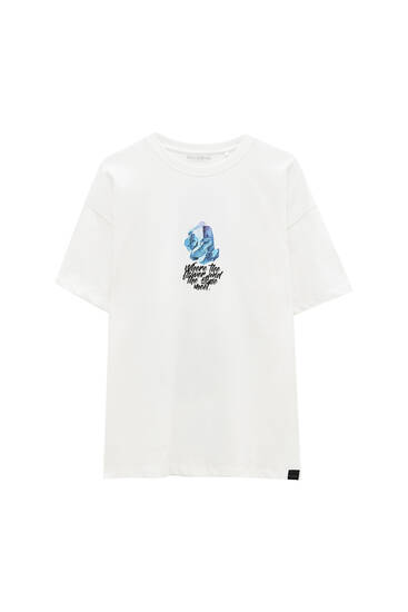 White T-shirt with floral text
