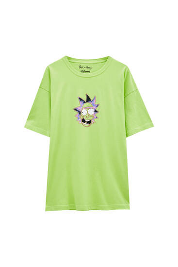 Green contrast Rick and Morty T-shirt