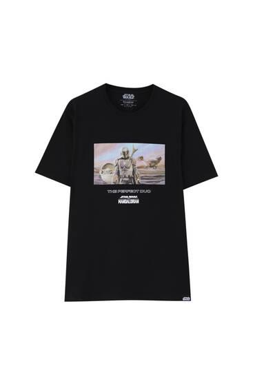 Black T-shirt with The Mandalorian illustration