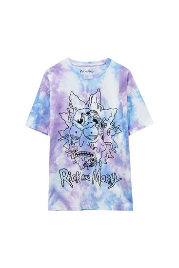 Tie-dye T-shirt with Rick and Morty illustration