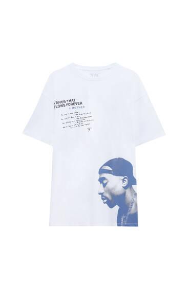 Weißes Tupac-Shirt