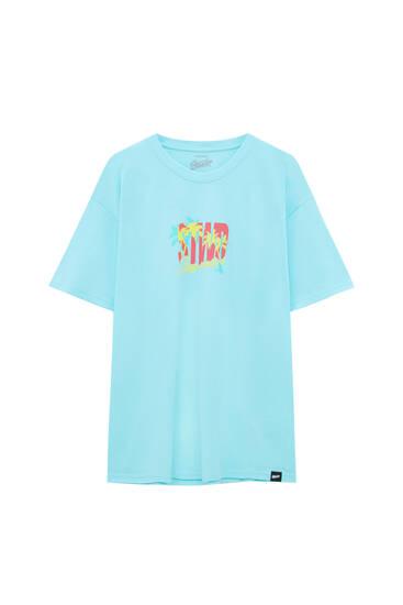 Blaues STWD T-Shirt mit Palmen