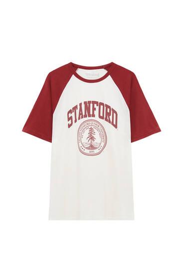 Weißes T-Shirt Stanford mit Raglanärmeln