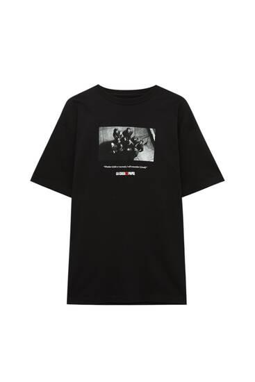 Shirt Haus des Geldes x Pull&Bear mit Foto der Figuren