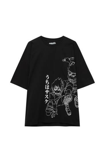 Schwarzes T-Shirt mit Narutoprint