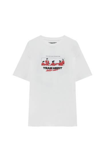 Weißes Shirt Haus des Geldes x Pull&Bear Team Heist