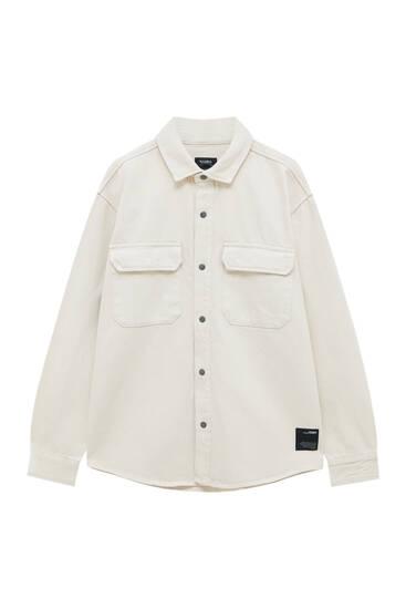 Верхня сорочка з вишитою етикеткою та довгими рукавами