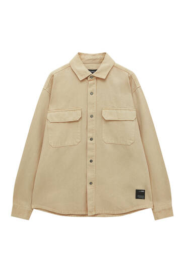 Long sleeve overshirt with embroidered label