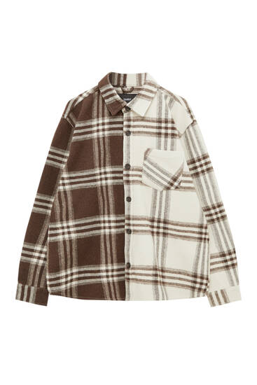 Contrast check patchwork overshirt
