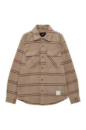 Check wool blend overshirt