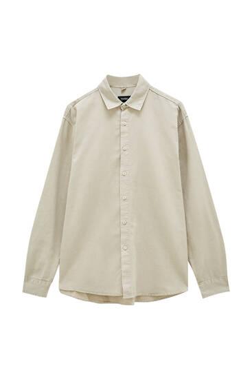 Camisa básica algodón lino