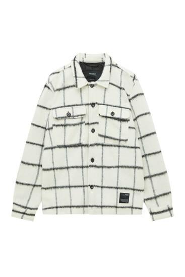 Check short faux fur overshirt