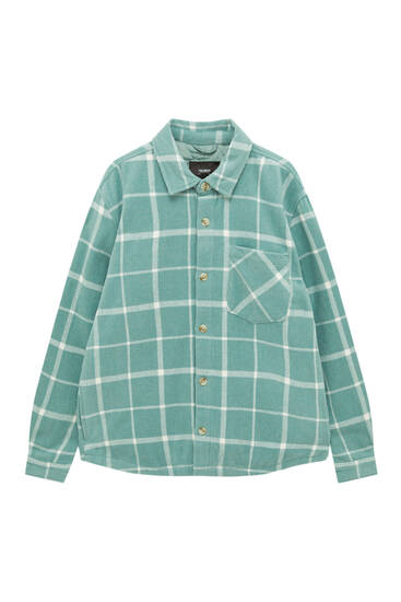 Check wool blend overshirt with pocket