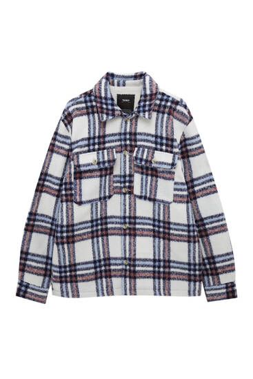 Black check overshirt with pockets