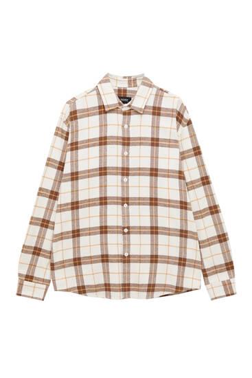 Brown check print overshirt