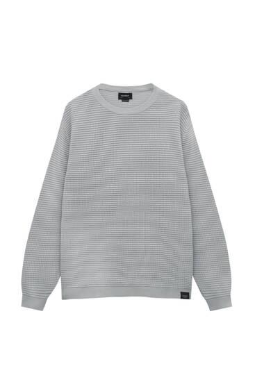 Basic-Pullover mit Waffelstruktur