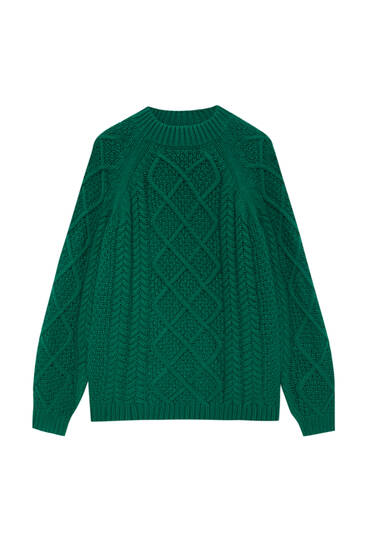 Knit basic sweater with a mock neck.