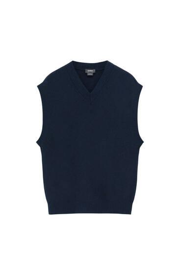 Basic V-neck knit vest