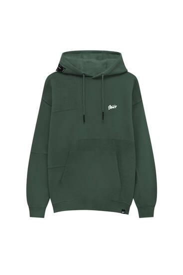 Premium fabric colour block hoodie