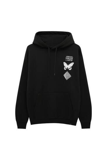 Black hoodie with illustration