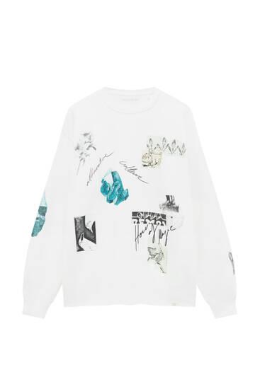 White print sweatshirt