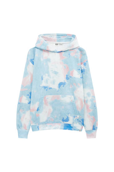 Tie-dye hoodie with embroidered slogan