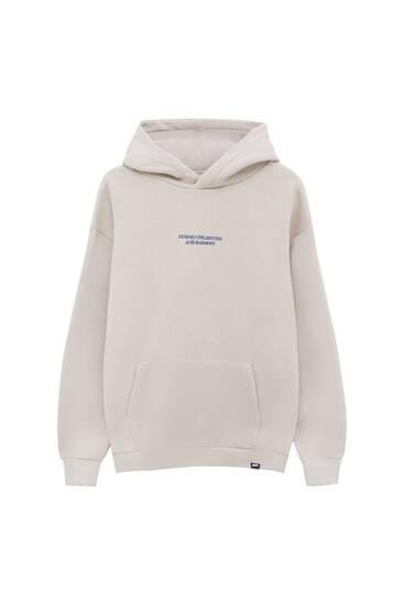 Paisley print hoodie with slogan