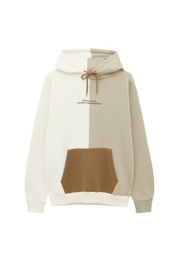 Colour block hoodie with slogan